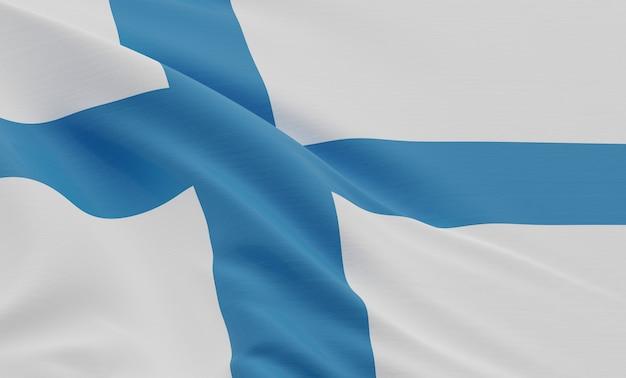Rendu 3d, gros plan, drapeau, de, finlande