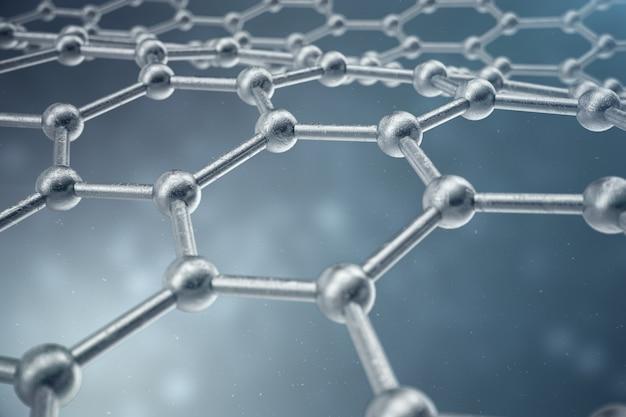 Rendu 3d gros plan de forme géométrique hexagonale de nanotechnologie abstraite. concept de structure atomique de graphène, structure en carbone.