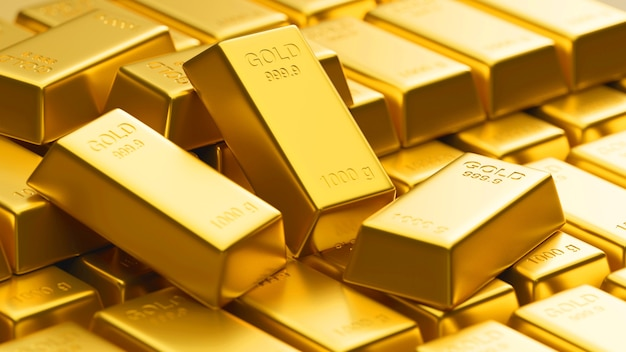 Rendu 3d, gros plan d'un grand nombre de lingots d'or brillants empilés dans l'entrepôt, concept de richesse, illustration 3d