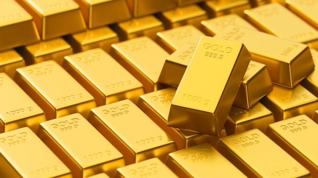 Rendu 3d, gros plan d'un grand nombre de lingots d'or brillants empilés dans le stockage, concept de richesse, illustration 3d