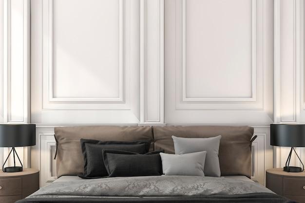 Rendu 3d gros plan lit classique brun dans la chambre classique
