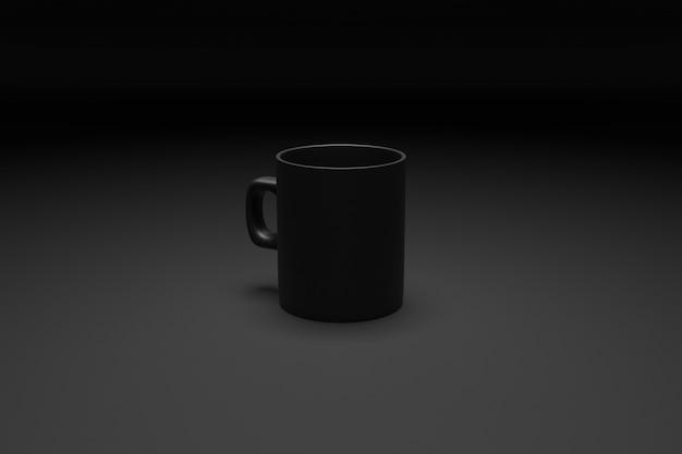 Rendu 3d gros plan de la tasse de thé et de café noir de taille moyenne sur fond noir isolé.