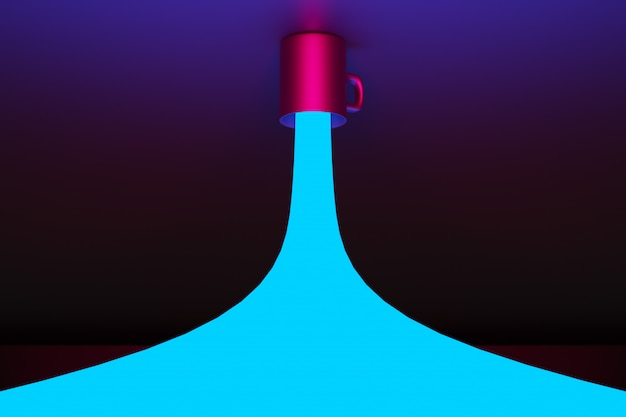 Rendu 3d. gros plan d'une tasse de thé noir et café de taille moyenne dans un écoulement d'eau bleu