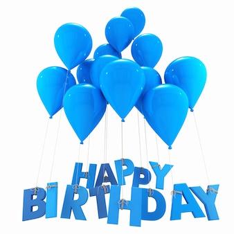 Rendu 3d d'un groupe de ballons avec les mots joyeux anniversaire accroché aux cordes dans les tons bleus