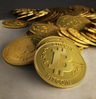 Rendu 3d d'un groupe de bitcoins