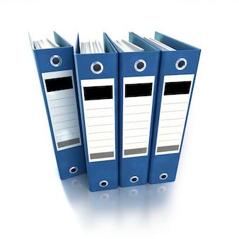 Rendu 3d d'un groupe de classeurs à anneaux en bleu