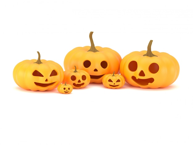 Rendu 3d, groupe de têtes de citrouille avec différentes émotions pour la décoration d'halloween, citrouilles amusantes et effrayantes, isolé sur fond blanc, un tracé de détourage