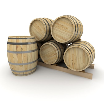Rendu 3d d'un groupe de tonneaux de vin sur un blanc