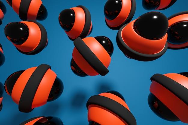 Rendu 3d d'un gyroscope noir et orange disposé à la même distance sur un fond bleu.