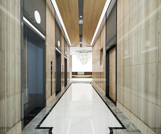 Rendu 3d hall d'ascenseur d'ascenseur en acier moderne dans un hôtel d'affaires avec un design de luxe