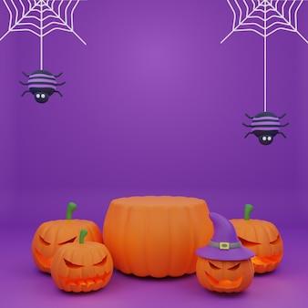Rendu 3d halloween citrouille podium promotion caractère effrayant citrouille araignées fond
