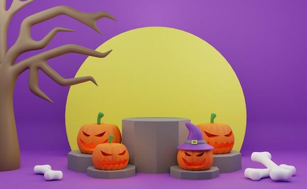 Rendu 3d halloween podium promotion personnage effrayant citrouille arbre lune os fond