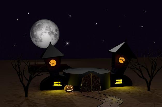 Rendu 3d d'halloween d'un podium vide avec un château sombre, des citrouilles d'halloween lumineuses jack-o-lantern, une lune folle, des arbres et un chemin de pierre. vacances d'automne. scène pour montrer tous les produits pour la publicité.