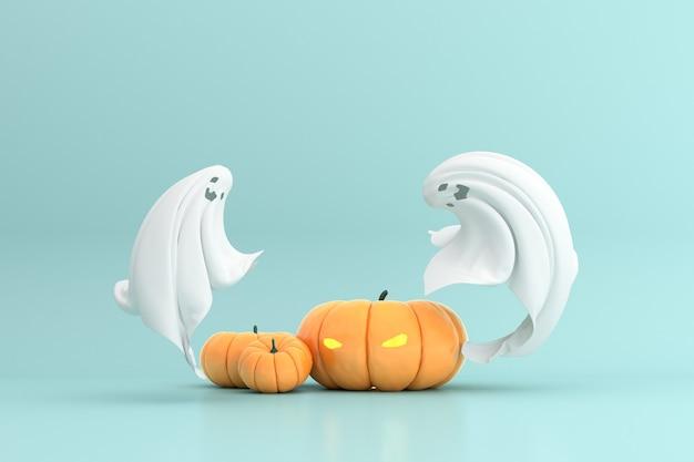 Le rendu 3d de halloween tête de citrouille jack lantern et fantôme
