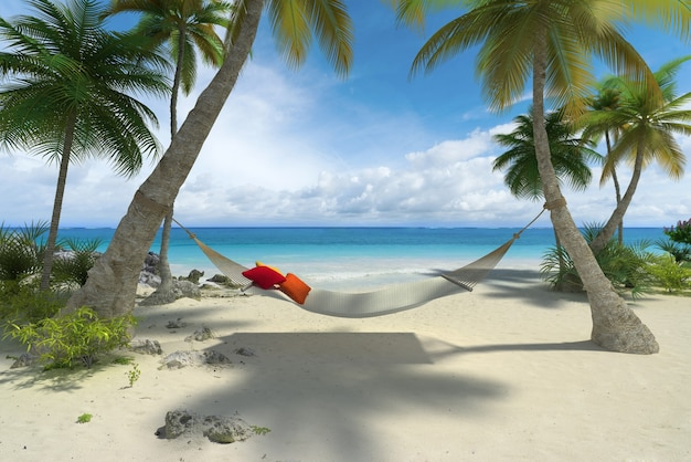 Le rendu 3d d'un hamac suspendu à des palmiers sur une plage tropicale