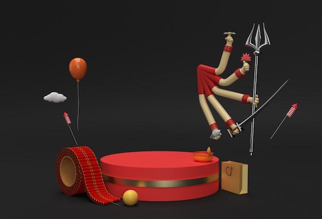 Rendu 3d happy durga puja scène de scène de podium minimale pour la conception publicitaire de produits d'affichage.