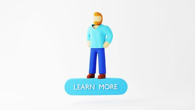 Rendu 3d d'un homme sur l'icône en savoir plus. achats en ligne et e-commerce sur le concept d'entreprise web. transaction de paiement en ligne sécurisée avec smartphone.