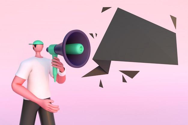 Rendu 3d d'un homme sans visage tenant un mégaphone à des fins publicitaires.