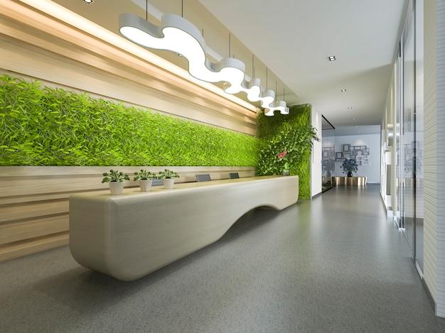 Rendu 3d hotel de luxe et bureau reception et salon