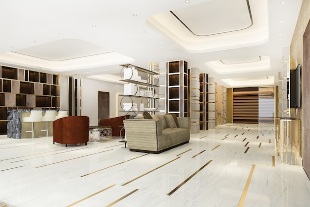 Rendu 3d hôtel de luxe moderne et réception de bureau et salon de réunion