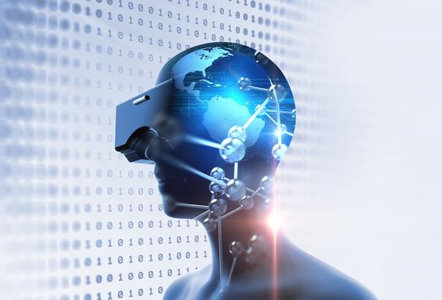 Rendu 3d d'humain virtuel en casque de réalité virtuelle sur fond de technologie futuriste