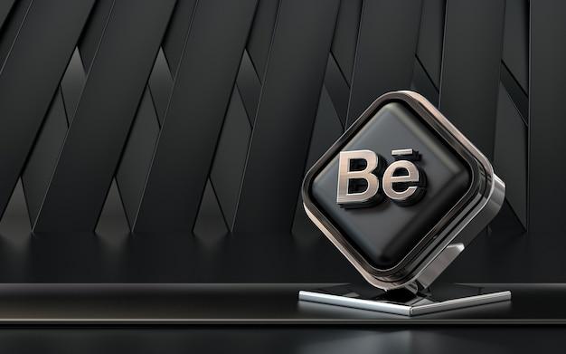 Rendu 3d icône behance bannière de médias sociaux fond abstrait sombre