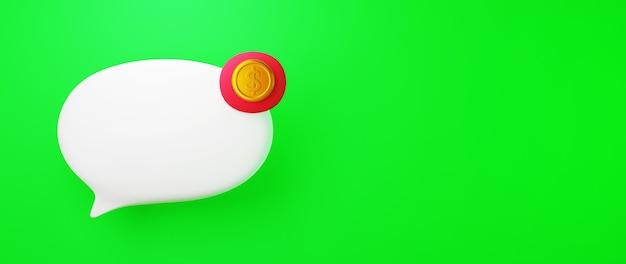 Rendu 3d de l'icône de chat et pièce d'or. affaires en ligne et commerce électronique sur le concept de magasinage en ligne. transaction de paiement en ligne sécurisée avec smartphone.