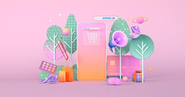 Rendu 3d de l'icône du smartphone et du site web.