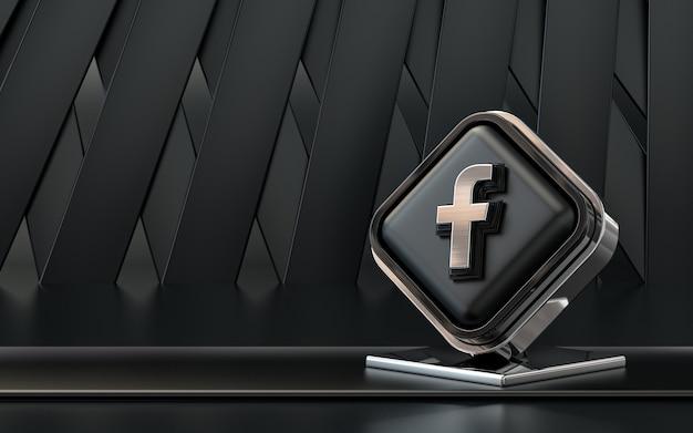 Rendu 3d icône facebook bannière de médias sociaux fond abstrait sombre