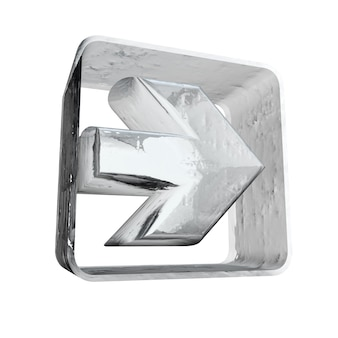 Rendu 3d d'une icône de flèche blanche avec une texture glacée