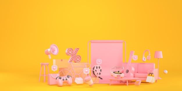 Rendu 3d de l'icône de message d'amour et fond jaune.