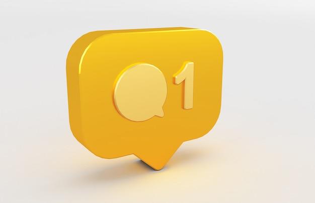 Rendu 3d de l'icône de notification des médias sociaux.