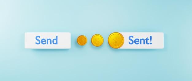 Rendu 3d de l'icône et de la pièce d'or. affaires en ligne et commerce électronique sur le concept de magasinage en ligne. transaction de paiement en ligne sécurisée avec smartphone.
