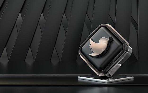 Rendu 3d icône twitter bannière de médias sociaux fond abstrait sombre