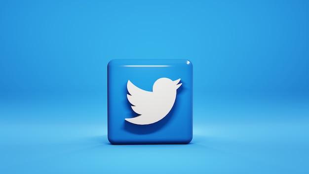Rendu 3d de l'icône twitter