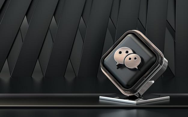 Rendu 3d icône wechat bannière de médias sociaux fond abstrait sombre