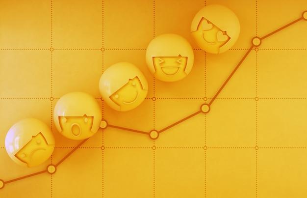Rendu 3d d'icônes d'émotion sur tableau financier jaune avec graphique de profit dans la croissance de l'entreprise et le concept de réussite.