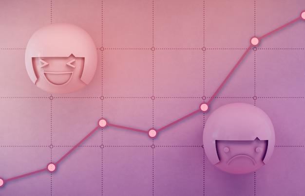 Rendu 3d d'icônes d'émotion sur tableau financier rose avec graphique de profit dans la croissance de l'entreprise et le concept de réussite.