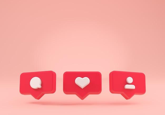 Un rendu 3d des icônes flottantes de notification instagram des médias sociaux