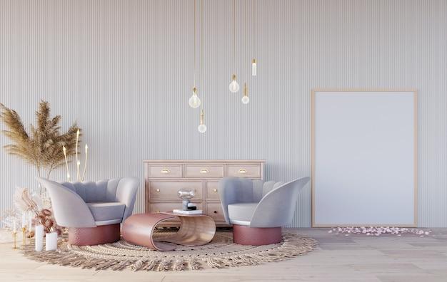 Rendu 3d, illustration 3d, scène d'intérieur et maquette de cadre, coin détente dans des tons pastel, console en bois, grand tapis en tissage bohème à cadre en bois.