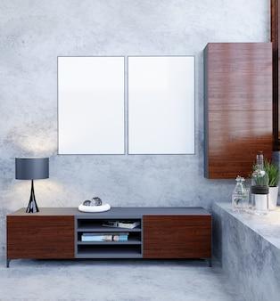 Rendu 3d, illustration 3d, scène d'intérieur et maquette de cadre, murs nus, photo de deux cadres muraux, une table d'appoint et une étagère suspendue avec des portes en bois ouvertes.