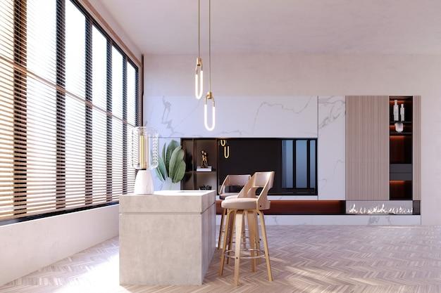 Rendu 3d, illustration 3d, scène d'intérieur et maquette, comptoir de préparation des aliments et mur décoré d'éléments intégrés.