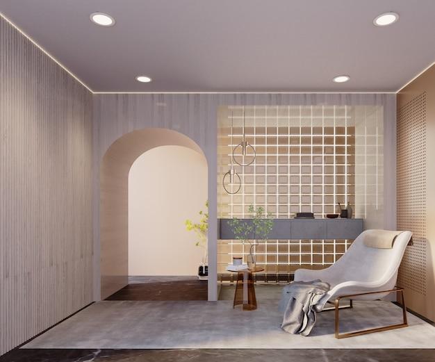 Rendu 3d, illustration 3d, scène d'intérieur et maquette, dressing moderne avec murs en verre et couloir.