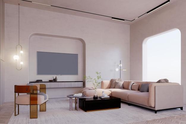 Rendu 3d, illustration 3d, scène d'intérieur et maquette, salon dans des tons marron et beige ouverture incurvée.