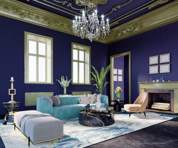 Rendu 3d, illustration 3d, scène d'intérieur et maquette, salon de luxe avec murs bleus à rayures vertes.