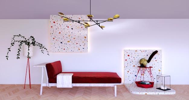Rendu 3d, illustration 3d, scène d'intérieur et maquette, style minimal avec canapé moderne et suspension