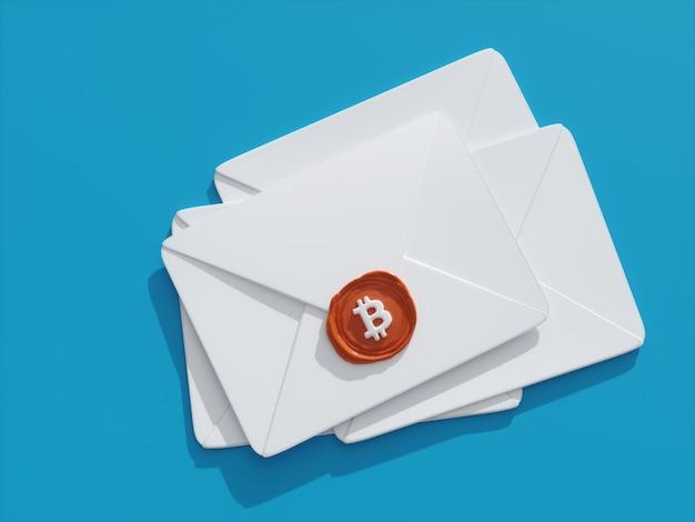 Rendu 3d illustration bitcoin crypto monnaie cire sceau lettre mail