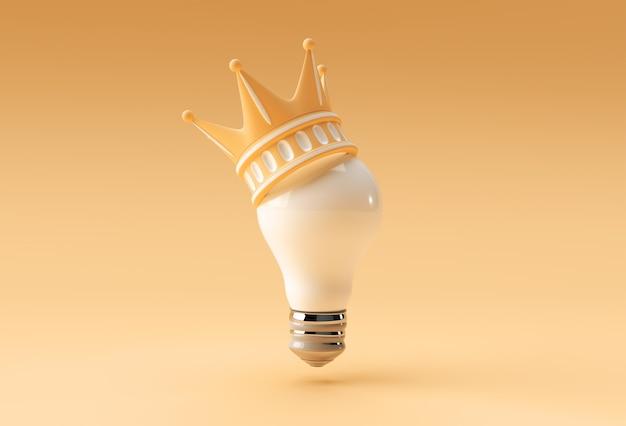 Rendu 3d illustration couronne turquoise avec ampoule isolé sur fond de couleur