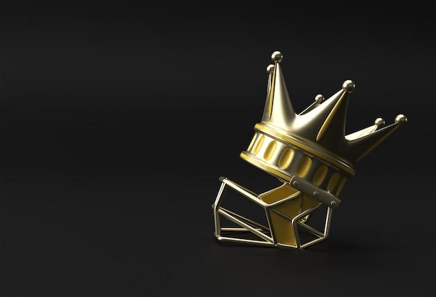 Rendu 3d illustration couronne turquoise avec casque isolé sur fond de couleur