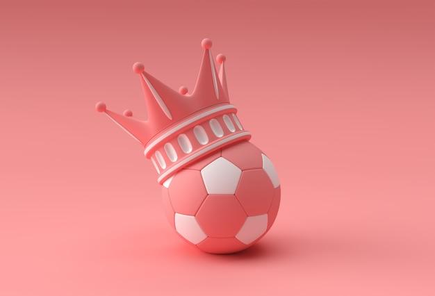 Rendu 3d illustration couronne turquoise avec football isolé sur fond de couleur